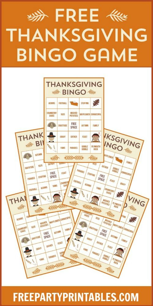 Free Thanksgiving Bingo Printable Game