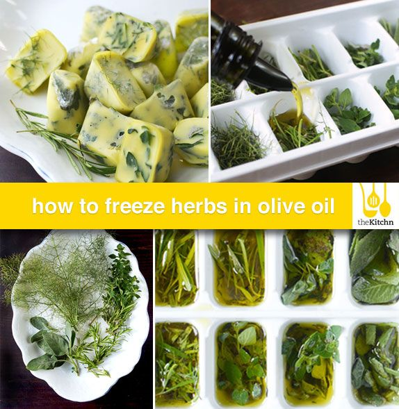 Freeze fresh herbs in olive oil for future use. I love this! I always throw out herbs that have gone bad in the fridge so this is much more cost efficient. I also have frozen buttermilk and fresh fruit juices like blood orange juice. This way I don't waste any and have it on hand for future recipes. -kw