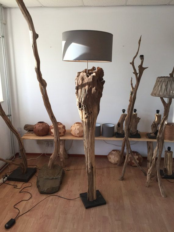 Floor lamp of weathered old Oak tree stump