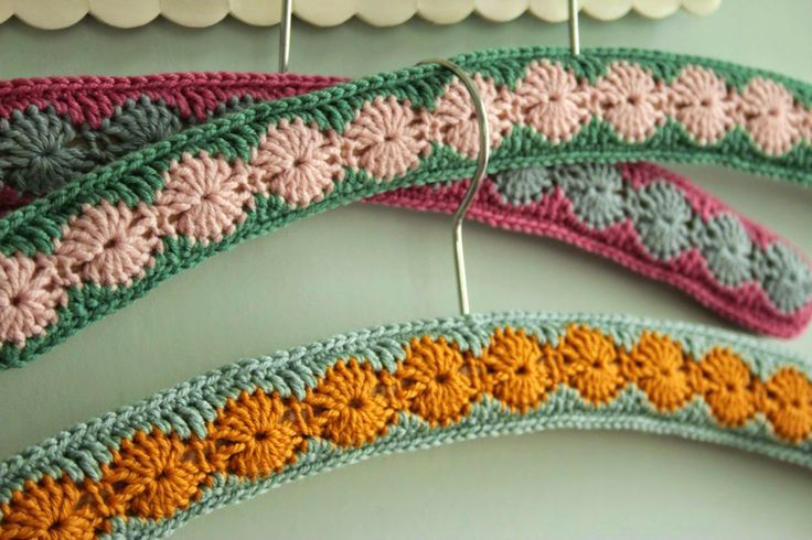 Beautiful #crochet hangers from @Sandra Pendle (Cherry Heart)