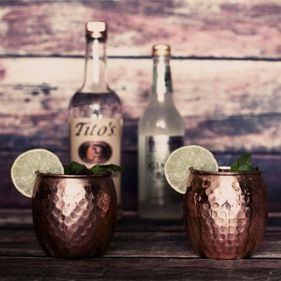 Moscow Mule Copper Mugs - Set of 2 Handmade 100% Pure Copper Mule Mugs - By Old&Urban