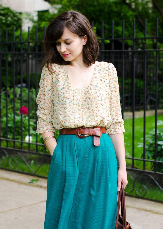 Leifsdottir blouse, thrifted skirt, Franco Sarto sandals, Margot handbag, JCrew necklace, Fossil belt