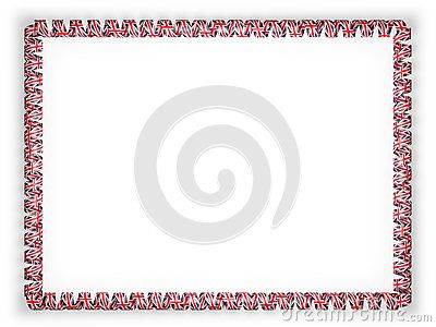 Frame and border of ribbon with the United Kingdom flag. 3d illustration.