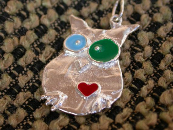 Owl in Love Silver by giolelli on Etsy