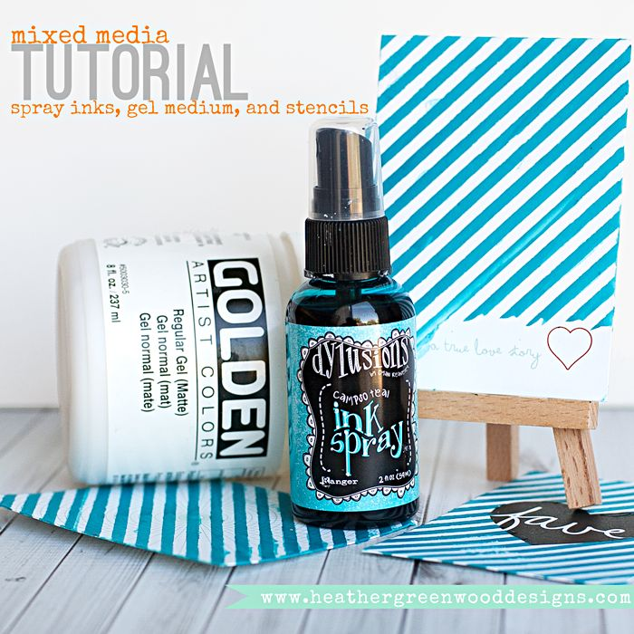 Heather Greenwood | Mixed Media Tutorial | mixing spray ink and mists into gel medium