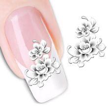 1 folhas moda branca flor beleza polonês itens Nail Art decalques francês Tips transferência de água tatuagens adesivos de unhas ferramentas XF1138(China (Mainland))