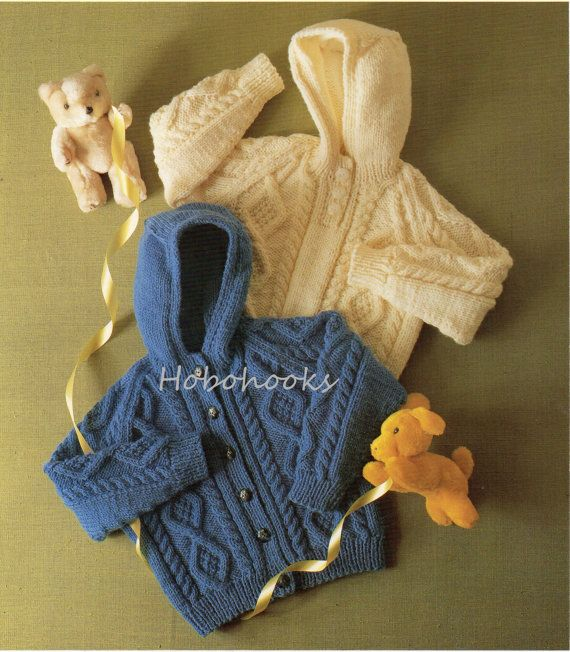 Baby Knitting Pattern Childrens Knitting Pattern Aran Hooded Sweater Aran Hooded Cardigan Aran Hoody 20-28inchAran Yarn PDF instant download
