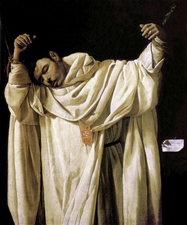 Art from Spain - Francisco de Zurbarán (Badajoz 1598–Madrid 1664). Zurbarán firmó un contrato de obras en 1628, con los religiosos del convento de Nuestra Señora de la Merced Calzada y fue entonces cuando pintó a San Serapio, mártir mercedario, torturado y asesinado en 1240 por piratas sarracenos. San Serapio aparece aquí moribundo, la cabeza del martir cae sobre su hombro derecho con una expresión de abandono, de aceptación y de serenidad. Hartford, Wadsworth Atheneum Museum of…