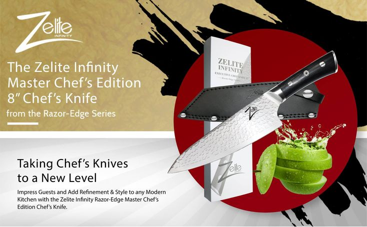 """When visiting a Amazon Listing do you ever scroll to the bottom of the Page to have a look at the Enhanced Brand Content giving you more information about your potential new Zelite Infinity Knife? Here is the Razor Edge Series 8"""" Executive Chef Knife STORM-X Finish Enhanced Brand Content.  Below we have provided the Link to both the USA and the Uk Amazon Listings, go try it out today"""