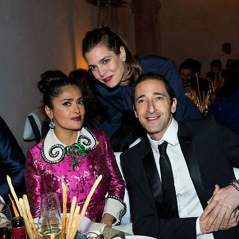 May 2017 - Charlotte Casiraghi of Monaco, Salma Hayek and Adrian Brody. Charlotte mingled with Salma Hayek during a recent trip to Italy with her boyfriend. Photo: Bertrand Rindoff Petroff/Getty Images