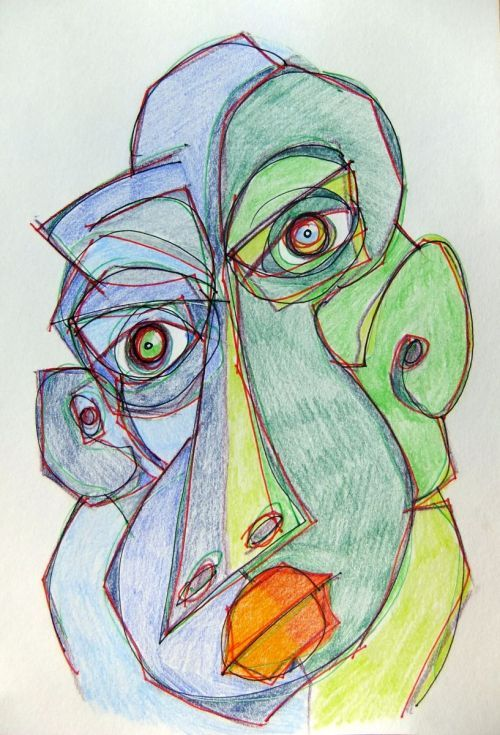 ARTFINDER: Blue Green by Steve Clement-Large - It's a face - and it's blue and green. A hint of cubism. Part of my 'no words necessary' collection. Mainly pencil with ink lines.