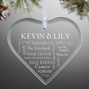 LOVE this beautiful romantic personalized Christmas ornament! It's a glass heart ornament that can be engraved with any 2 names and 9 lines of your favorite memories, special dates, inside jokes, vacation, wedding day details or anything you'd like! It's perfect for couples celebrating their first Christmas as Mr. and Mrs.!