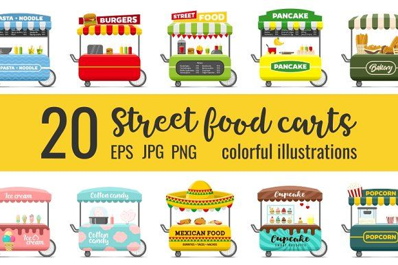 20 fast food street carts by primula on @creativemarket