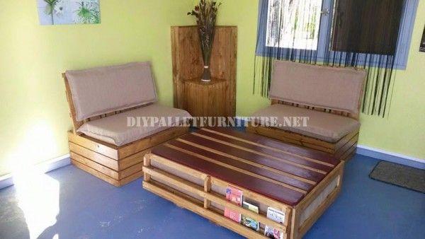 Canapé et table en plein air avec des palettes 1