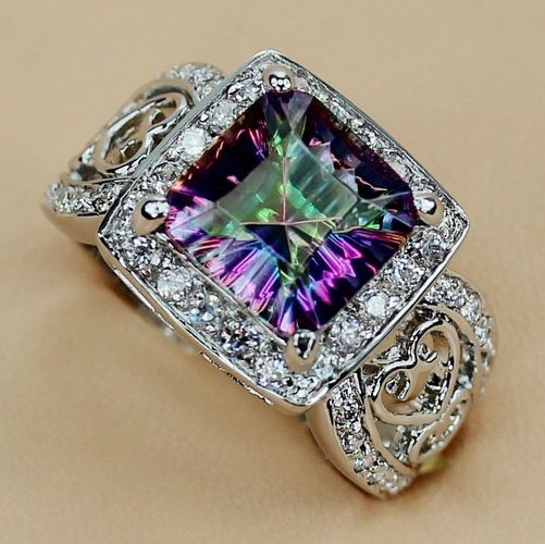 gemstone add round oval cz topaz white ring mystic rings gold fire wedding