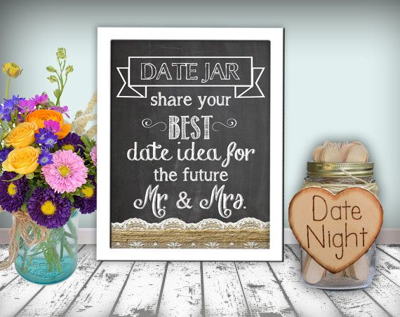 Date Jar Sign Chalkboard Printable 8x10 PDF Instant Download Burlap & Lace Rustic Shabby Chic Woodland on Etsy, $10.00