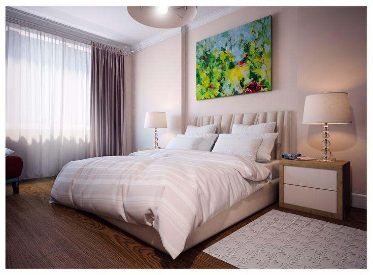 Спальня в  цветах:   Белый, Светло-серый, Серый, Темно-коричневый, Бежевый.  Спальня в  стиле:   Минимализм.