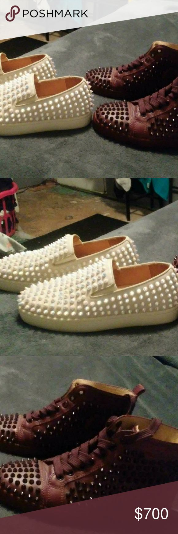 Christian Louboutin shoes One pair of white boat shoes and one pair of high to brown sneakers both size 5. Only wore once Christian Louboutin Shoes Flats  Loafers