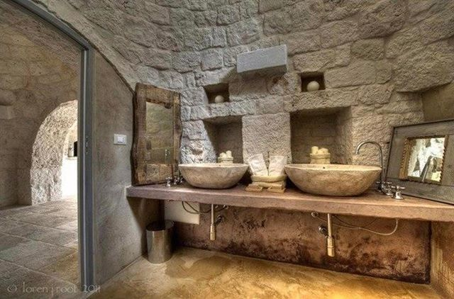 "The stunning bathroom at ""L'Agave"" the master suite at my Farmhouse and Cooking school in Puglia."