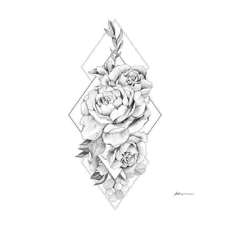 "233 curtidas, 1 comentários - Ker (@ker_illustration) no Instagram: ""Rose · pen drawing · follow @ker_illustration · · #instaart #lines #tattoo #tattoos #flower #floral…"""
