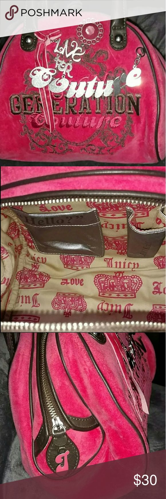 Mint condition Juicy Couture handbag. Sale now Sale!! Pink velour with black. Absolutely Gorgeous !! Authentic original!  Price is firm unless bundled. Juicy Couture Accessories
