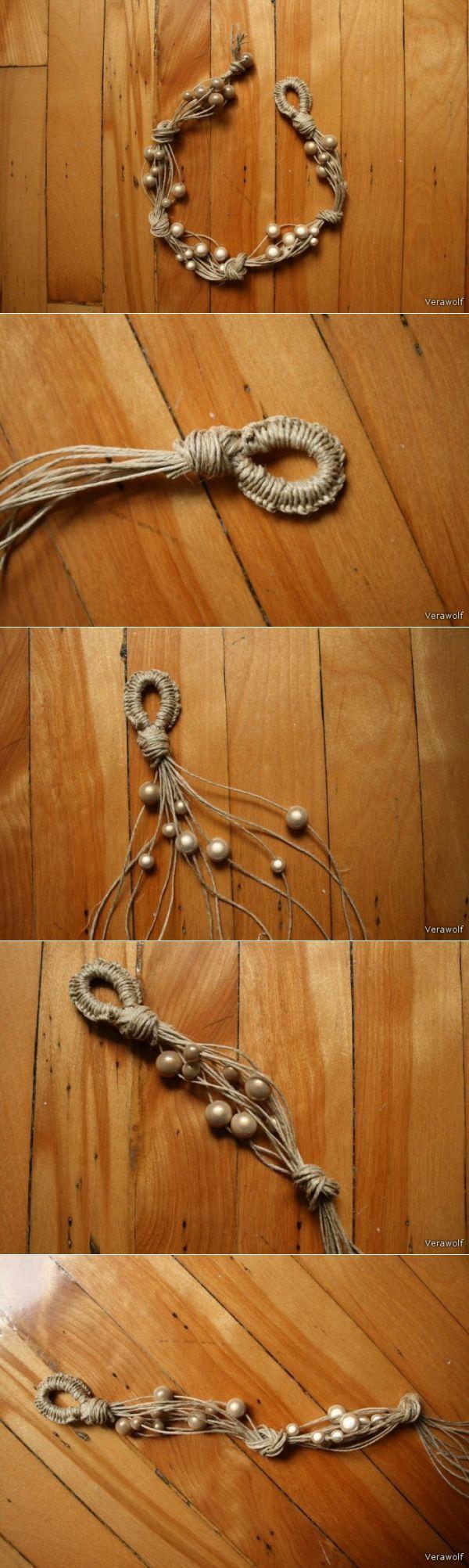 Летнее ожерелье из из льняных нитей и бусин