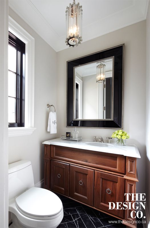 powder room, custom vanity, walnut vanity, white marble ...