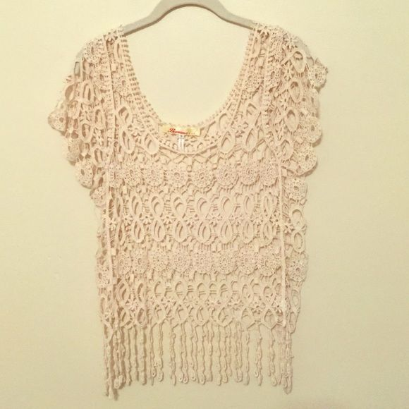 Crochet Top | Small By Banana USA.  Crochet tops are all the rage this season. Style Inspiration: Wear with your favorite bralette, tube bra, or bikini top & jean cut offs, jeans, or cropped brown pants. Or wear with a cami & your choice of pants. Perfect for summer music festivals!  4th photo shows style inspiration. Tops