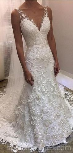 V Neck Backless Lace Mermaid Low-cost Wedding ceremony Clothes On-line, Low-cost Bridal Clothes, WD530