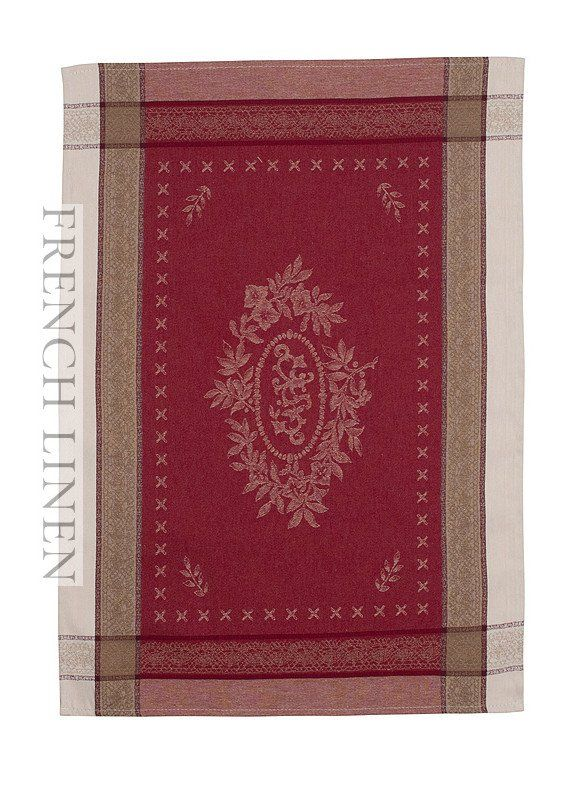 french linen jacquard tea towel with monogramme design in ecru/red