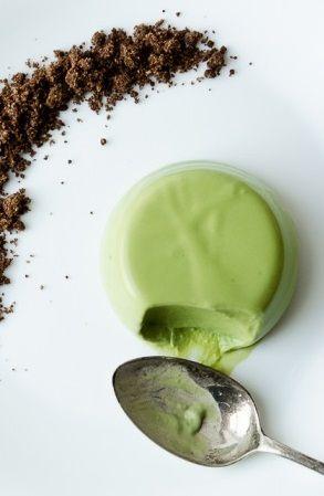 Green Tea Panna Cotta with Chocolate Soil