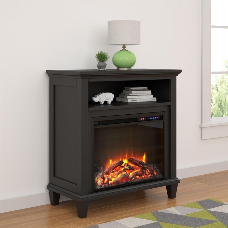 Ameriwood Home Ellington Electric Fireplace Accent Table 32-inch TV Stand (32-inch media fireplace, black)
