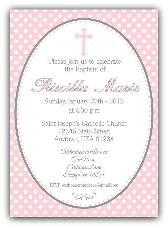 Pink and Polka Dots Baptism Christening Invitation for Baby Girl - DIY Print at Home on Etsy, $12.00