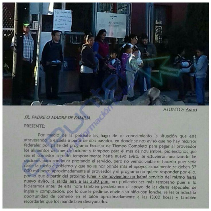 Se quedan sin servicio de comedor 350 Escuelas de Tiempo Completo por culpa de autoridades; Padres molestos clausuran primaria en Meoqui | El Puntero