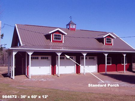 Standard porches buildings structures metal steel pole for Pole barn with porch