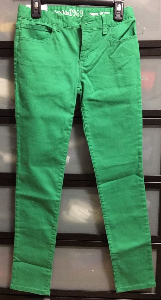 (NWT) GAP KIDS 1969 BERMUDA Girls BRIGHT GREEN SUPER SKINNY JEANS size 10Regular #GapKids #SlimSkinny #Everyday