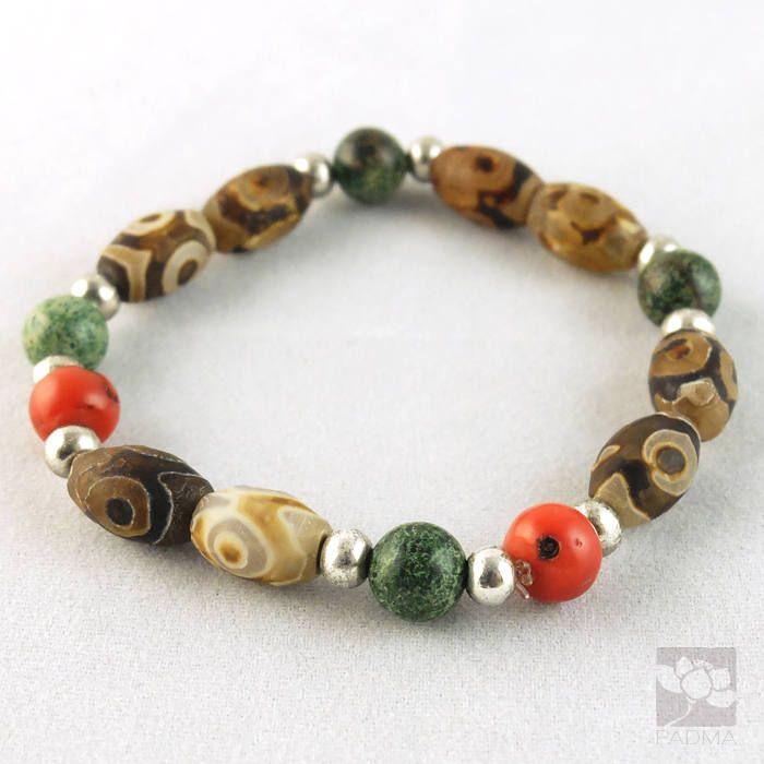 TibetanDzi Agate Beads / Coral Beads / Stretch Bracelet /