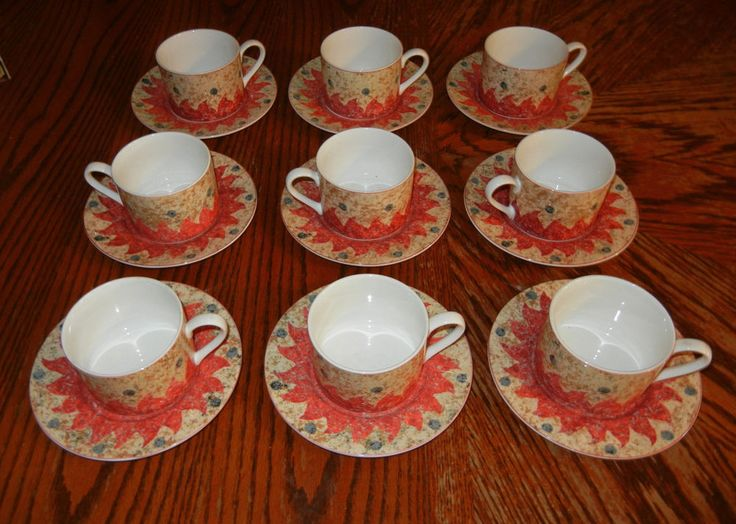 18 Pcs. Sasaki China DELPHI Set of 9 Cups and Saucers Designed by Loretta Agro #Sasaki