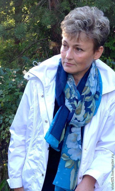 Купить ПОДАРОК шифоновый шарф Воздушный - цветочный, розы, ручная работа, батик шарф