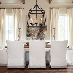 Slipcovered Dining Chairs Transitional Room Bay Hill Design