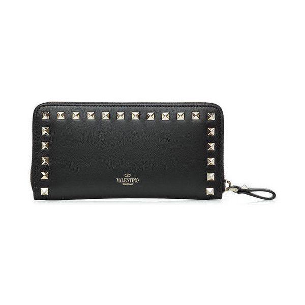 Valentino Rockstud Leather Wallet ($695) ❤ liked on Polyvore featuring bags, wallets, leather wallets, valentino bag, valentino wallet, genuine leather wallet and genuine leather bags