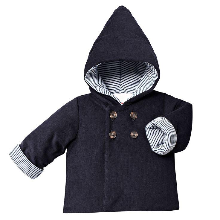 Petit Bateau Navy Blue Corduroy Padded Jacket