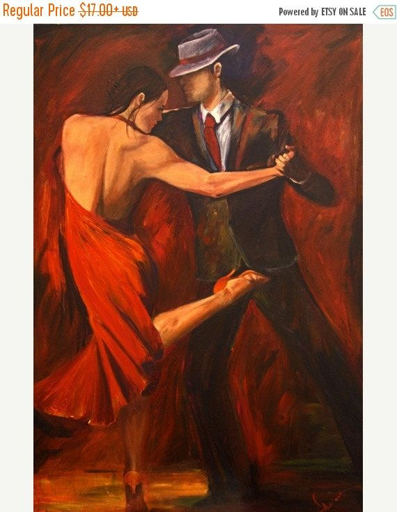 ON SALE Tango Dancers Art Print on Paper, Argentine Tango Dancer in Red Dress Shoe with Red and Black Background