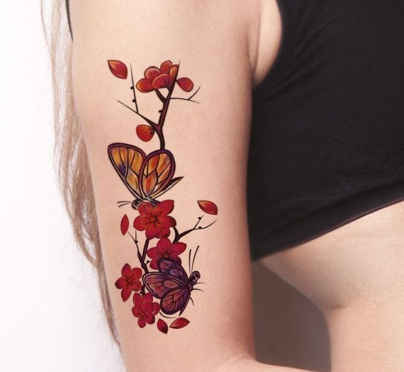 Butterfly and Flower Temporary Tattoo-Colorful Temporary Tattoo- Floral Temporary Tattoo -Boho Temporary Tattoo-Flower Tattoos-Pink Flowers – Tattoo Inspiration