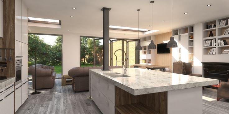 THORPE LEA ROAD  Open plan kitchen dining area. Bi-fold doors. kitchen Storage. Kitchen living area.