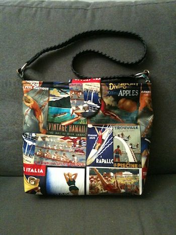 Handbag made with vintage fabric and leather strap.