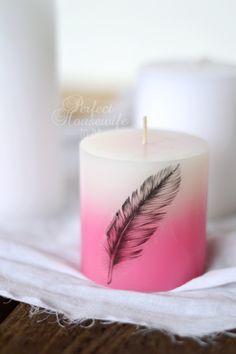 DIY kaarsen met een afbeelding, tekening of tekst bedrukken (zonder lijm!). Een superleuk idee voor persoonlijk cadeau of als accessoire.