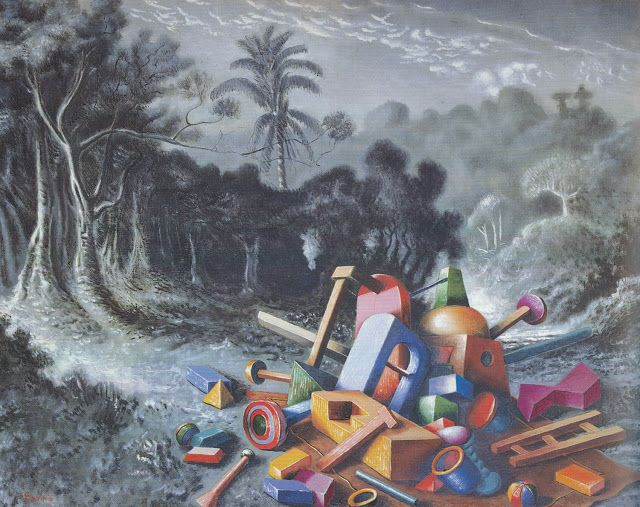 Objets dans la forêt, Alberto Savinio, 1927-1928