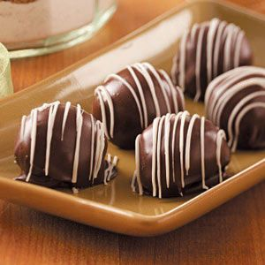 Crispy Peanut Butter Balls.  Basically Buckeyes with Rice Krispies in the peanut butter filling to give a subtle crunch.