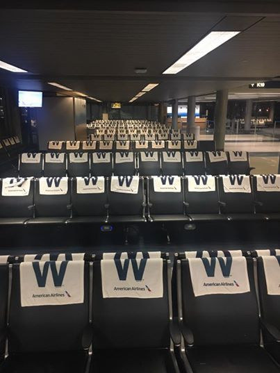American Airlines at Chicago Airport ahead of Cubs game tonight in world series game 3